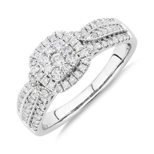 Halo Ring With Diamonds In 10kt White Gold