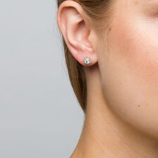 Michael Hill Designer Allegro Stud Earrings with 1/2 Carat TW of Diamonds in 14kt White & Rose Gold