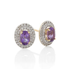 Earrings with Amethyst & 0.16 Carat TW of Diamonds in 10kt Yellow Gold