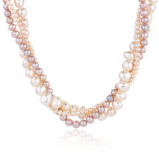 "45cm (18"") Three Strand Necklace with White & Pink Cultured Freshwater Pearls in Sterling Silver"