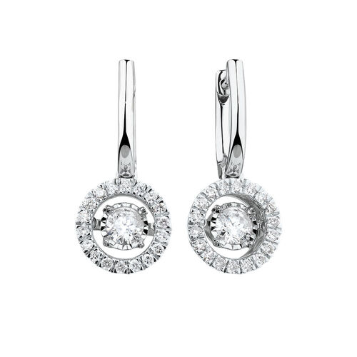 Everlight Drop Earrings with 1 Carat TW of Diamonds in 14kt White Gold