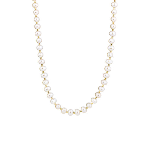 """42cm (16"""") Necklace with Cultured Freshwater Pearls in 10kt Yellow Gold"""