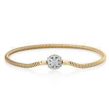 "17cm (7"") Charm Bracelet with 0.27 Carat TW of Diamonds in 10kt Yellow Gold"