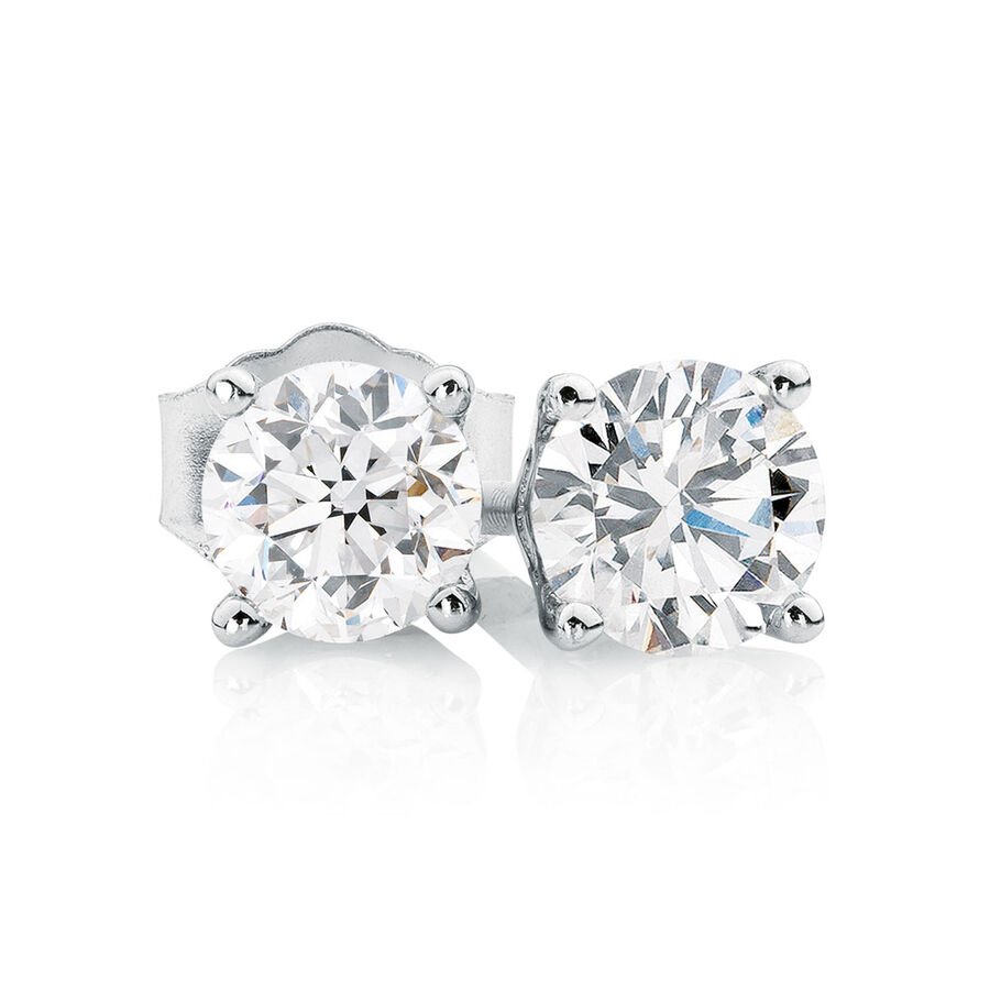 Classic Stud Earrings with 0.71 Carat TW of Diamonds in 14kt White Gold