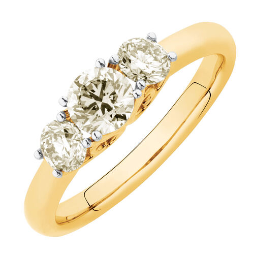 Three Stone Engagement Ring with 1 Carat TW of Diamonds in 14kt Yellow Gold