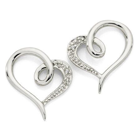 Heart Earrings with Diamonds in 10kt White Gold