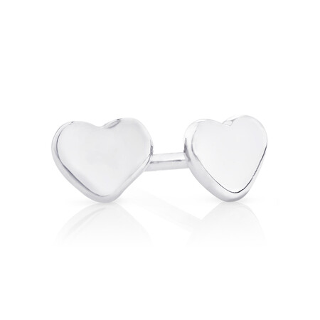 Stud Earrings With Flower, Heart & Open Circle in Sterling Silver
