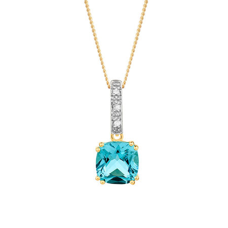 Pendant with Blue Topaz & Diamonds in 10kt Yellow & White Gold