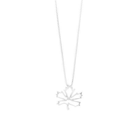 Maple Leaf Pendant with a Diamond in Stirling Silver