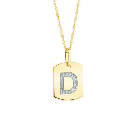 """D"""" Initial Rectangular Pendant With Diamonds In 10kt Yellow Gold"""