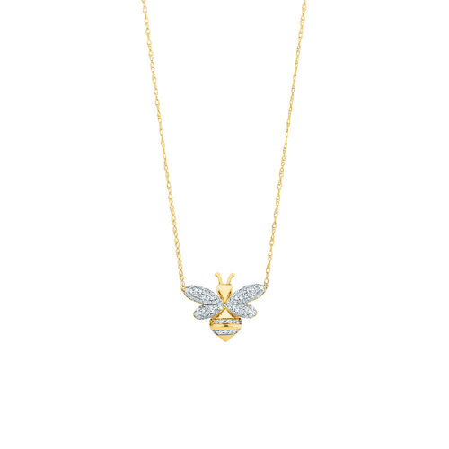 Bee pendant with 0.16 Carat TW Diamonds in 10kt Yellow Gold