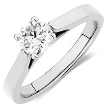 Certified Solitaire Engagement Ring with a 0.70 Carat Diamond in 14kt White Gold