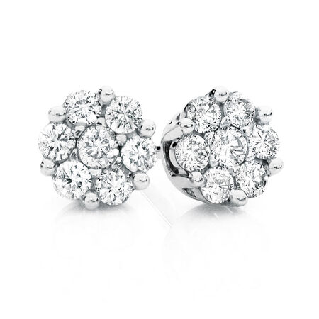 Cluster Stud Earrings with 0.25 Carat TW of Diamonds in 10kt White Gold