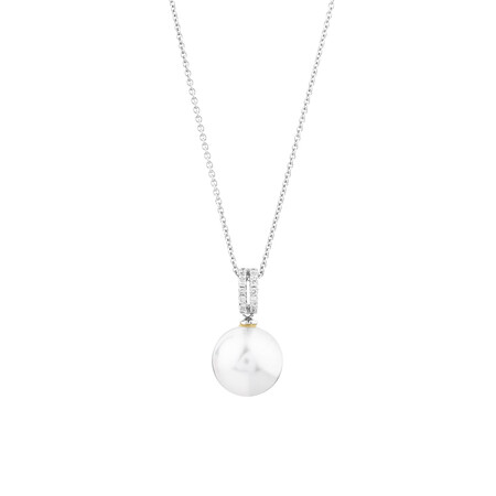 Pendant With Cultured South Sea Pearl And Diamonds In 14ct White Gold