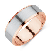 Men's Wedding Band in 10kt Rose & White Gold