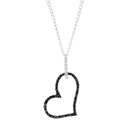 City Lights Pendant with 0.16 Carat TW of White & Enhanced Black Diamonds in Sterling Silver