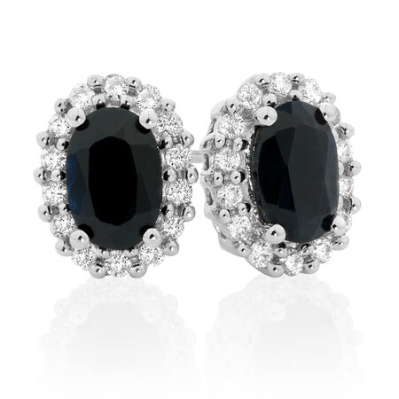 Stud Earrings with Sapphire & 0.19 Carat TW of Diamonds in 10kt Yellow & White Gold