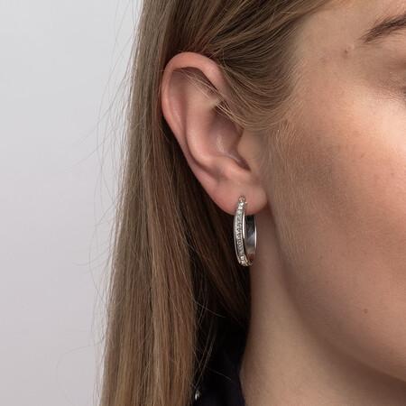 22mm Oval Glitter Hoop Earrings In 10kt White Gold