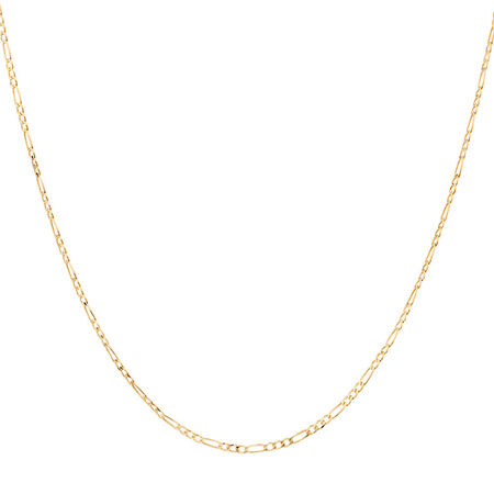 "55cm (22"") Solid Figaro Chain in 10kt Yellow Gold"