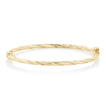 Hollow Oval Twist Bangle in 10kt Yellow Gold
