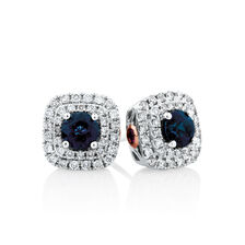 Michael Hill Designer Stud Earrings With Sapphire & 0.33 Carat TW Of Diamonds In 10kt White & Rose Gold