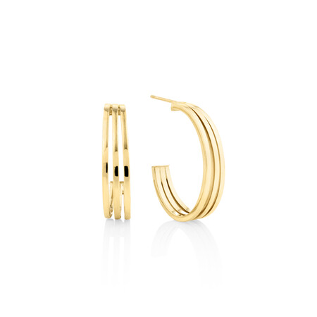 Three-strand Earrings In 10kt Yellow Gold