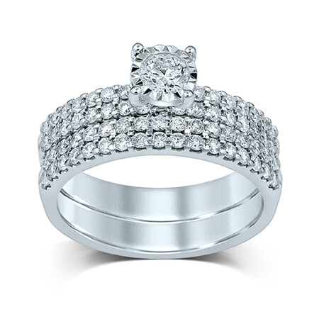 Bridal Set with 1.00 Carat TW of Diamonds in 14kt White Gold