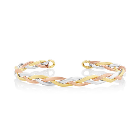 Plait Bangle in 10kt Yellow, Rose & White Gold