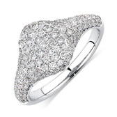 Signet Ring with 1 Carat TW of Diamonds in 10kt White Gold