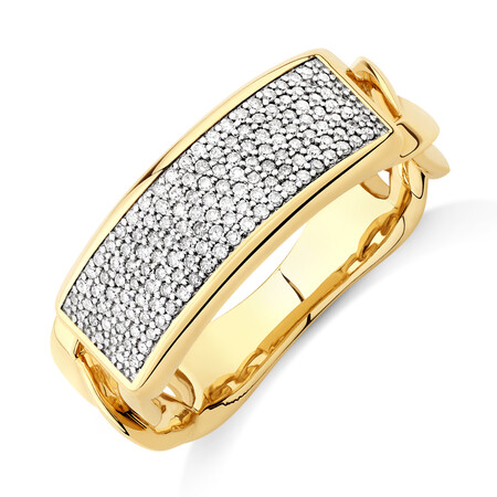 Pave Link Ring with 0.40 Carat TW of Diamonds in 10kt Yellow Gold