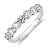 Evermore 7 Stone Wedding Band with 1 Carat TW of Diamonds in 14kt White Gold