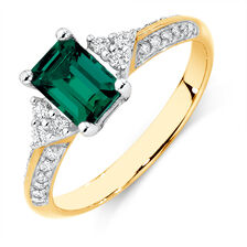 Ring with Created Emerald & 1/4 Carat TW of Diamonds in 10kt Yellow & White Gold