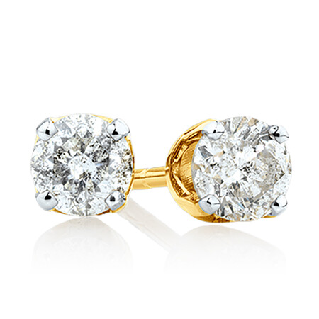 Stud Earrings with 3/8 Carat TW of Diamonds in 10kt Yellow Gold