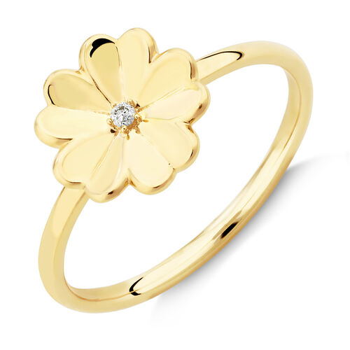 Flower Ring with Diamond in 10kt Yellow Gold