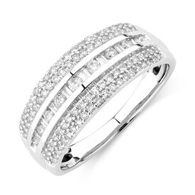 Multi Row Ring with 0.50 Carat TW of Diamonds in 10kt White Gold