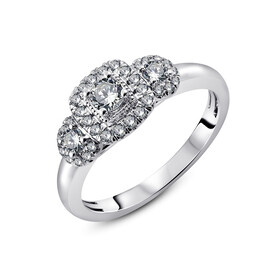 Three Stone Ring with 1/2 Carat TW of Diamonds in 14kt White Gold