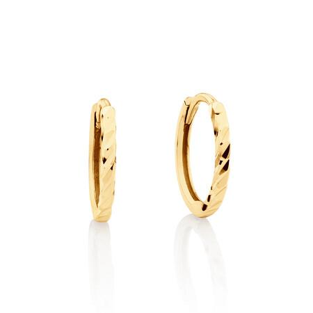 Mini Hoop Diamond Cut Earrings in 10kt Yellow Gold