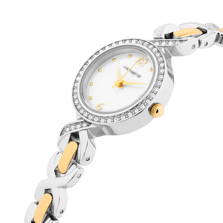 Ladies Watch with Crystals & Mother of Pearl in Silver & Gold Tone Stainless Steel