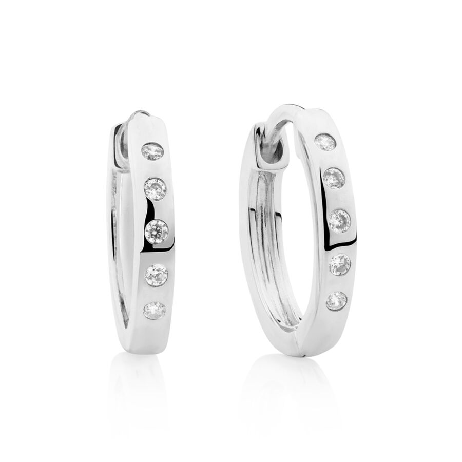Huggie Earrings with Cubic Zirconia in Sterling Silver