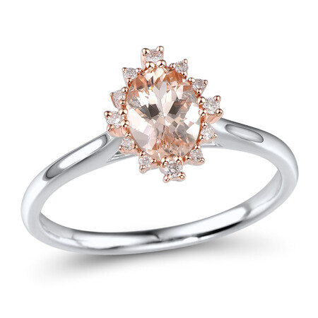 Ring with Morganite in 10kt Rose Gold & Sterling Silver