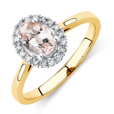 Ring with Morganite & Diamonds in 10kt Yellow & White Gold
