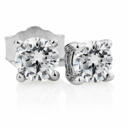 Classic Stud Earrings with 0.46 Carat TW of Diamonds in 14kt White Gold