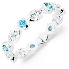White & Aqua Cubic Zirconia Stack Ring