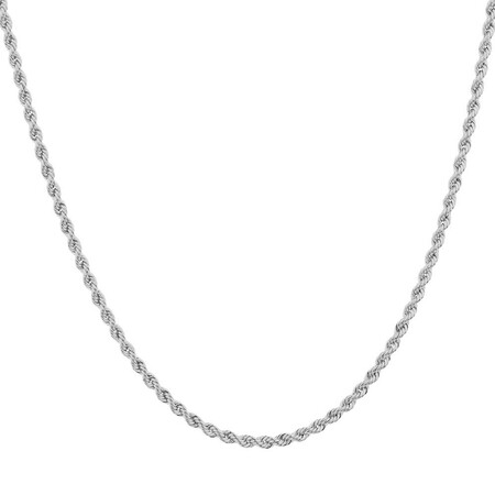 """60cm (24"""") Hollow Rope Chain in 10kt White Gold"""