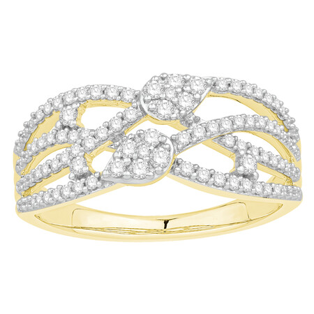 Crossover Ring with 0.40 Carat TW of Diamonds in 10kt Yellow Gold