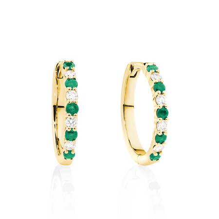 Huggie Earrings with Natural Emerald & 0.20 Carat TW of Diamonds in 10kt Yellow Gold