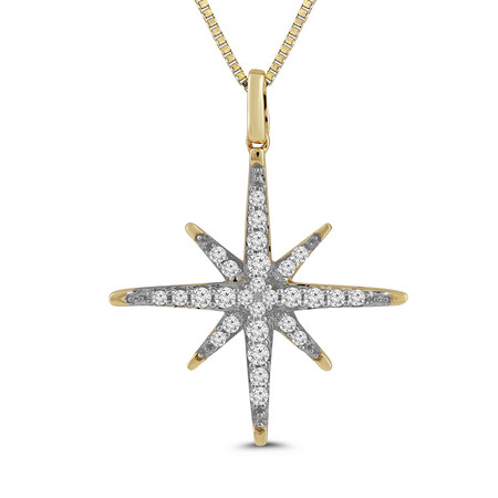 Star Pendant with 0.17 Carat TW of Diamonds in 10kt Yellow Gold