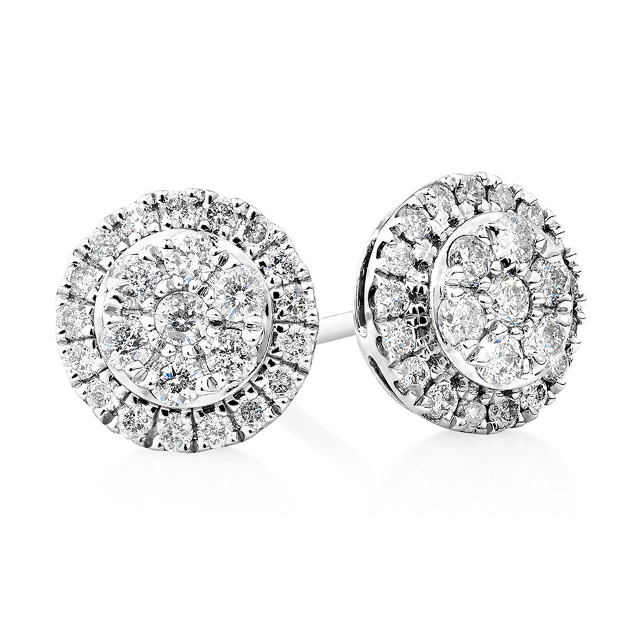 Cluster Earrings with 0.50 Carat TW of Diamonds in 10kt White Gold