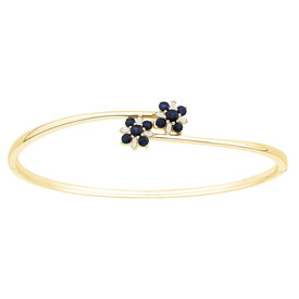 Bangle with Natural Sapphire & Diamonds in 10kt Yellow Gold