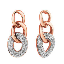 Link Earrings with 1/4 Carat TW of Diamonds in 10kt Rose Gold